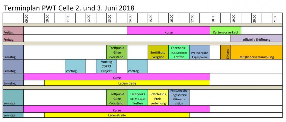 Zeitplan Patchworktage 2018 Celle