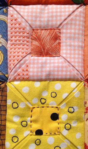 """Freies Sticken auf Quilts anhand des Quilts """"Reste im Quadrat"""" - Ulla Hoppe"""